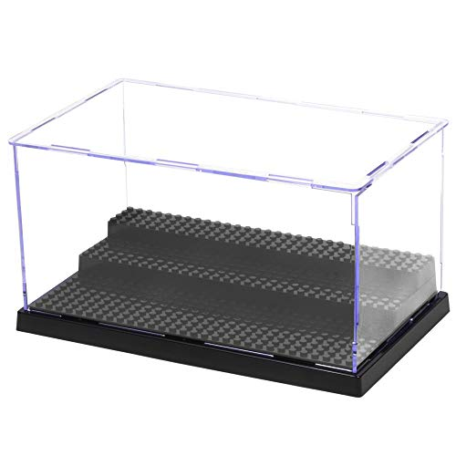 MIMIEYES Estuche de Acrílico Caja de Presentación (10 x 5.7 x 5.3 Inches) Perspex Polvo Proof Show Case Base para Lego Minifigures Brick Building Block (Negro)