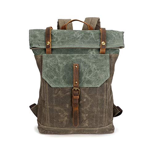 """Waxed Canvas Rustic Backpack, Fintie Water Proof Roll Top Travel Hiking Rucksack Leather Daypack for School Work Men Women, Fits 17.3"""" Laptop"""