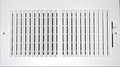 """20"""" X 8"""" 2-Way-Vertical AIR Supply Grille - Vent Cover & Diffuser - Flat Stamped Face - White [Outer Dimensions: 21.75""""w X 9.75""""h]"""