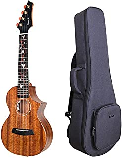 Enya EUC-M6 EQ Cutaway Acoustic Electric Concert Ukulele 23 Inch All Solid Mahogany with Beautiful Inlay and Gloss Finish