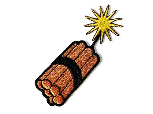 TH Kaboom Bomb Nuclear Weapons Boom Cartoon Logo Embroidered Applique Sew Iron on Patch for Hat Jackets Bags Jeans T-Shirt Backpacks Costume