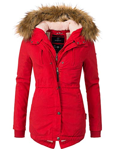 Marikoo Damen Mantel Wintermantel Winterparka Akira Rot Gr. XL