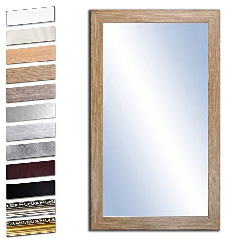 Bilderdepot24 Wandspiegel Spiegel Badspiegel Holzrahmen komplett mit Echtglas - Eiche Grand - ca. 100x50 cm
