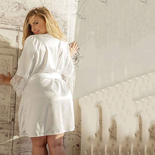 Wxxly Damen Reizwäsche Spitzen Teddy Unterwäsche Strapsen Negligee Nachtwäsche Nachthemd V-Ausschnitt Lingerie Transparente Babydoll mit Strumpfhaltergürtel-Dessous,Weiß,XXXL