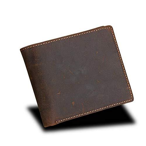 MIMIOOORE Cuero de los hombres de Slim RFID bloqueo genuino Cartera plegable (Color : Brown)