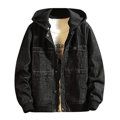 MAYOGO Hoodie Jeans Jacke für Männer/Teenager Denim Jacke Herren College Jacke Schwarz/Blau Jeansjacke Outdoor Freizeitjacke mit Kapuze (Schwarz, M)