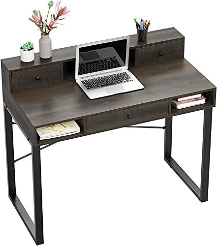 Escritorio para computadora, escritorio rústico de 42 pulgadas con cajones, mesa de estudio marrón oscuro, 107x54x93 cm