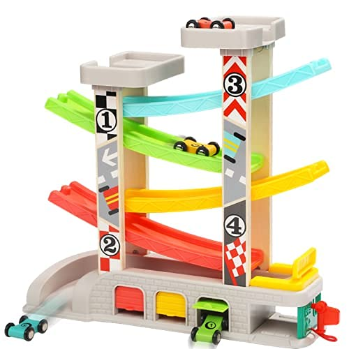 TOP BRIGHT Wooden Car Ramp Toys for 1 2 3 Year Old Boy Gifts Birthday Presents Toddler Race Track Toy with 4 Cars and 3 Car Garages