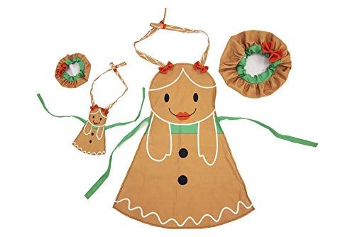 Playtime by Eimmie Christmas Baking Set - Kids Christmas Apron & Chef Hat with Matching Doll Accessories - Play Kitchen Accessories for Boys & Girls