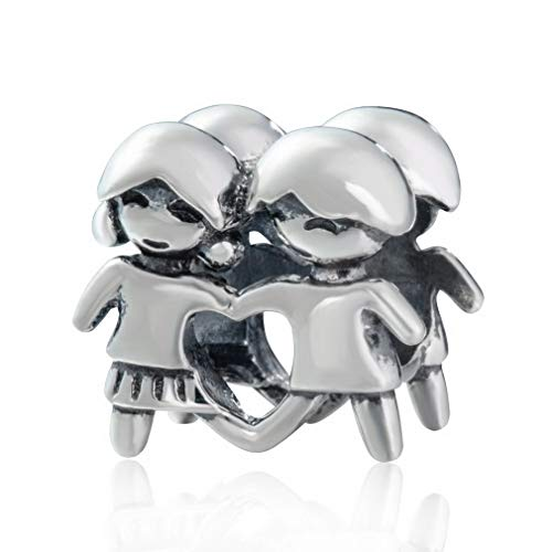 Friendship Charm,Family Charm,Full of love 925 Sterling Silver Hand in Hand Beads Charm for Bracelet