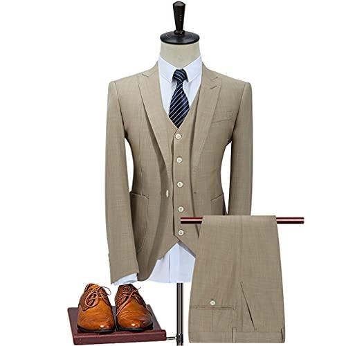 LEPSJGC メンズジャケットベストパンツファッションスーツ紳士着用ビジネスウェディングブレザー男性3ピースセットコートズボンチョッキ (Color : Khaki, Size : XXXL code)