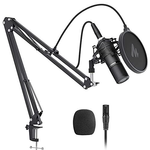 SSRSHDZW Conjunto de micrófonos con Condensador del Tablero Mezclador, micrófono Profesional de grabación de Estudio de cardioides para transmisión, Voz sobre, ASMR, Estudio en casa