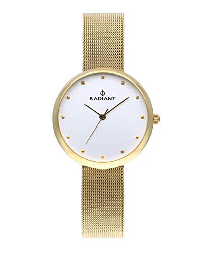 Reloj analógico para Mujer de Radiant. Colección Gimli. Reloj Dorado con Malla milanesa y Esfera Blanca. 3ATM. 34mm. Referencia RA523601.