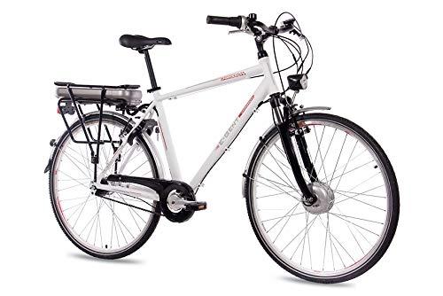 CHRISSON 28 Zoll E-Bike Trekking und City Bike für Herren - E-Gent Weiss mit 7 Gang Shimano Nexus Nabenschaltung - Pedelec Herren mit Bafang Vorderradmotor 250W, 36V