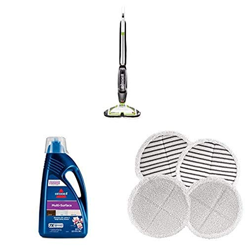 Bissell Spinwave Powered Hardwood Floor Mop and Cleaner, Green Spinwave 1789G MultiSurface Floor Cleaning Formula (80 oz) 2124 Spinwave Mop Pad Kit Replacement Pads