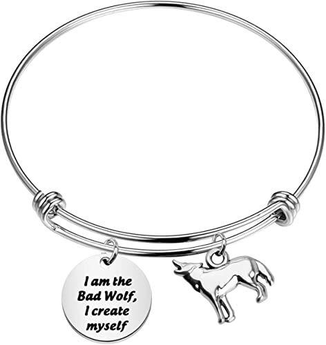 Doctor Who Bad Wolf Tardis Keychain Doctor Who Inspirational Gift I Am The Bad Wolf Jewelry (Wolf Tardis Bracelet)