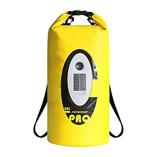 Amazeus 20 Liters Waterproof Dry Bag with Bluetooth Speaker and Solar Light, Roll Top Type Sack Keeps Gear Dry for Kayaking,Beach, Boating, Hiking, Camping