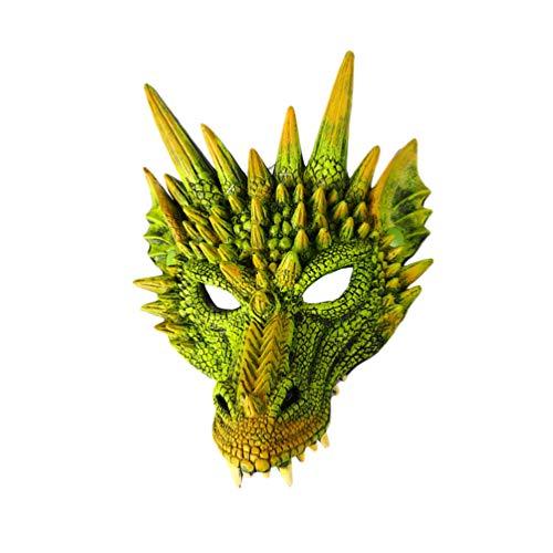 NUOBESTY Party Drachen Maske Drachen Cosplay Kostüm Anzieh Tier Gesicht Maske Cover Drachen Fotografie Requisiten für Maskerade Karneval Leistung (Grün)