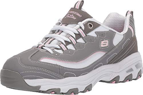 Skechers Women's D'Lites Health Care Professional Shoe, Gray/Pink, 6 M US