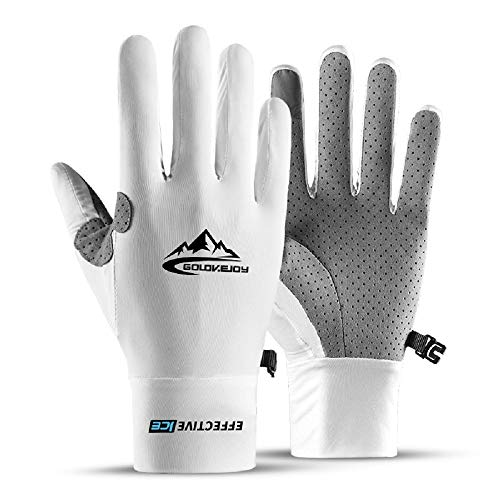 Jerry Golf Glove Men & Women Touch Screen Lightweight Running Gloves & No-Slip Grip Technology & Sweat Wicking Properties Autumn & Winter Workout Gloves (Large, White)