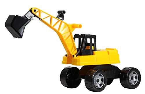 Lena 02047 Starke Riesen Bagger, Baufahrzeug ca. 80 cm, Giga Trucks Schaufelbagger mit 2 Stahlachsen, großer Spielzeugbagger in gelb und schwarz, Baggerfahrzeug für Kinder bis max. 25 kg, 70 cm
