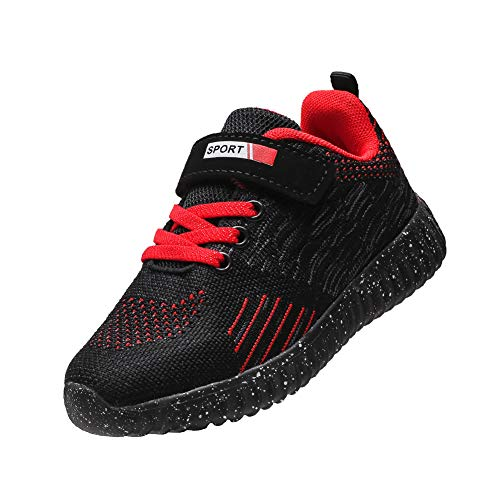 DUORO Jungen Atmungsaktiv Laufschuhe Sportschuhe Kinder Hallenschuhe Outdoor Running Schuhe Sneaker (34 EU, T294-Schwarz)