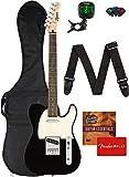 Fender Squier Bullet Telecaster, Laurel - Black Bundle with Gig Bag, Tuner, Strap, Picks, Fender Play Online Lessons, and Austin Bazaar Instructional DVD