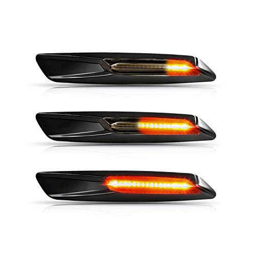 OZ-LAMPE LED dynamische LED Seitenblinker Blinker 2 X Bernstein 18 SMD mit Nicht-Polarität CAN-Bus-Fehlerfrei OE-Buchse Rauch F10 style Für E81 E82 E87 E88 E90 E91 E92 E93 E60 E84 E83