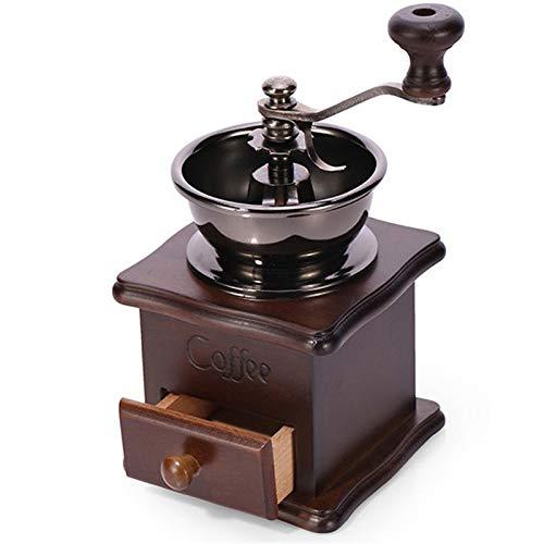 DJG Weinlese-hölzerne manuelle Kaffeemühle, Kaffee Spice Keramikkern Grinder für Mahlen von Kaffeebohnen, Geeignet für Haus, Büro, Reisen