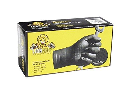 Lion Grip 8 mil Black Nitrile Disposable Glove - Size: L (100 count box) (Large)
