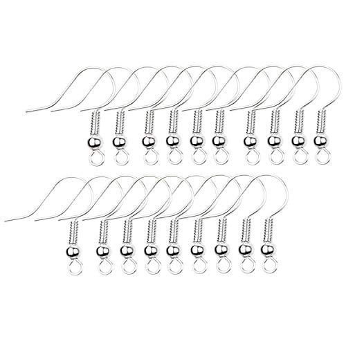 Eco-Fused 18mm Earring Hooks - 200 pcs - Coil and Ball Style Nickel-Free Ear Wires - Silver-Plated Steel- Great for DIY Earrings (18mm Earring Hooks - 200 pcs, Silver Color)