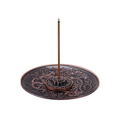 Quemador de incienso en forma de plato, de aleación de zinc con diseño de dragón, para el dormitorio u oficina, adecuado para barritas de incienso de 1,8 mm, 2,5 mm y 3,5 mm, Rojo-Bronce, 1