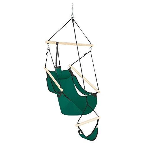 ONCLOUD Upgraded Unique Hammock Sky Chair, Air Deluxe Hanging Swing Seat with Rope Through The Bars Safer Relax with Drink Holder & Fuller Pillow Beech Wood Indoor Outdoor Patio Yard 250LBS (Green)
