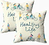 Fundas de almohada de cama, en diseño plano de grupo de personas haciendo y vida saludable 45.7 x 45.7 cm, fundas de almohada para decoración del hogar, fundas de almohada con cremallera para sofá