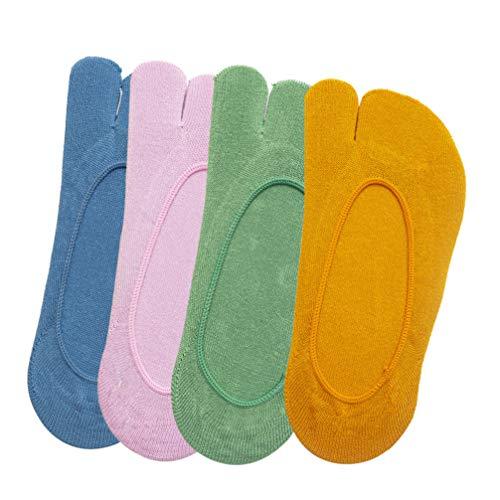 Holibanna 4 Pares de Mujeres Flip Flop Tabi Calcetines Estilo Japonés 2- Toe Dividido Toe Calcetines Verano Calcetines Bajos para Usar Zuecos Amarillo Verde Azul Púrpura