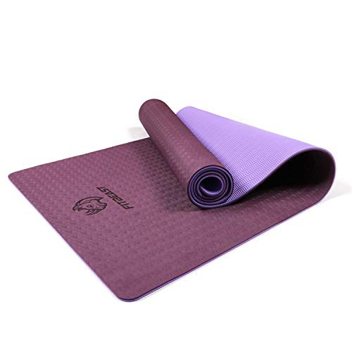 FitBeast Yoga Mat, 6mm Thick Non-Slip Exercise Yoga Mat, TPE Eco Friendly Fitness Mat with Carry...