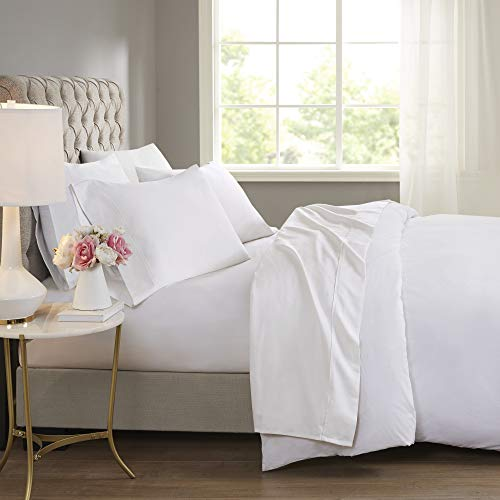 Beautyrest BR 600 TC Cooling Cotton Blend Solid Sheet 16 Inch Deep Pocket Hypoallergenic, All Season, Soft Bedding-Set, Matching Pillow Case, Full, White 4 Piece