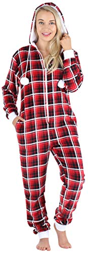 Frankie & Johnny Women's Hooded Fleece Non-Footed Onesie Loungewear Pajamas, Red Plaid, LRG