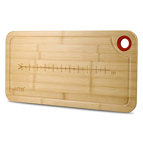 HTB Bamboo Cutting Board with Juice Groove,Long Cutting Board with Measurement,Best Kitchen Cutting Board for Bread,Fruits,Vegetable,Cheese and Meat