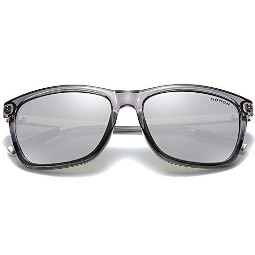 WHSS Gafas de sol nuevas coloridas polarizadas PC Material Moda Gafas de sol Plata/Marrón Hombres y Mujeres con la misma conducción gafas de sol (Color: Plata)