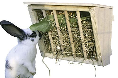 Kerbl Heuraufe für Kaninchen (Raufe aus Holz, mit Sitzbrett, verhintert Verunreinigung und Verleztungen durch Hineinhüpfen ins Heu, für Hasenstall, LxBxH: 25x17x20 cm) 84405