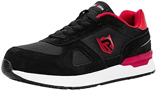 LARNMERN PLUS Zapatos de Seguridad Hombre Mujer Trabajo Punta Acero Zapatillas Seguridad Comodo Ligeros Antideslizante Calzado Seguridad Deportivo Verano(42EU,Negro)