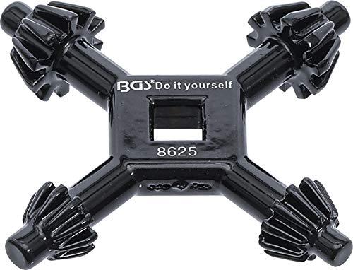 BGS Diy 8625 | Bohrfutter-Kreuzschlüssel | universal | Ø 4 / 5,5 / 6 / 7 mm