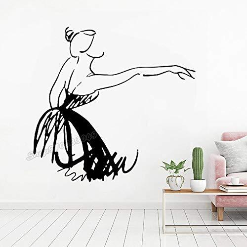 Ballet silueta bailarina Ballet bailarina gimnasia Pointe zapatos estudio de baile vinilo pared pegatina