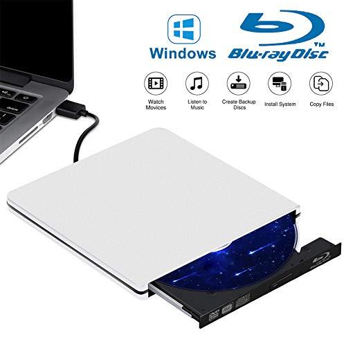 Tokenhigh Blu Ray 4K 3D Grabadora CD/DVD Externa, Lector de DVD/CD Externo, Grabador de Unidad de DVD Blu Ray Externo, Unidad Externa Portátil USB 3.0 Reproductor de BD/CD/DVD RW Delgado