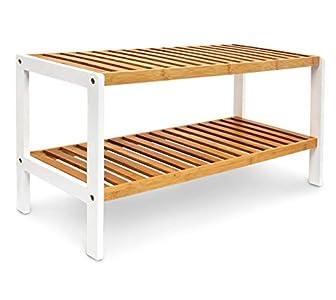 Relaxdays Mueble para Zapatos, bambú, Blanco y marrón