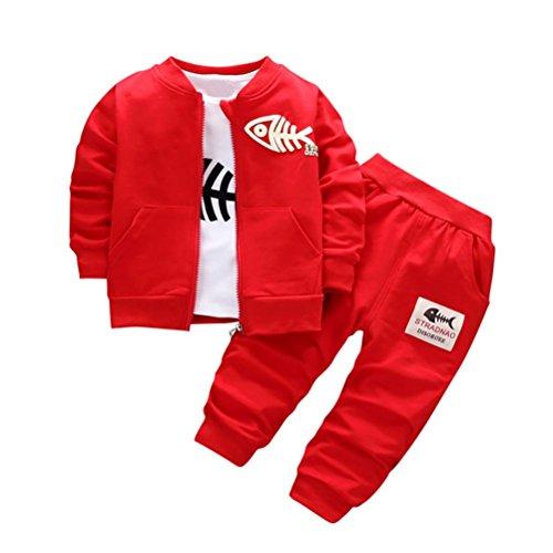 Amlaiworld Ropa niño Otoño Invierno, Ropa de bebé niños Conjunto Abrigo + Camisa + Pantalones 6 Mes - 3 Años (Tamaño:6-12Mes, Rojo)