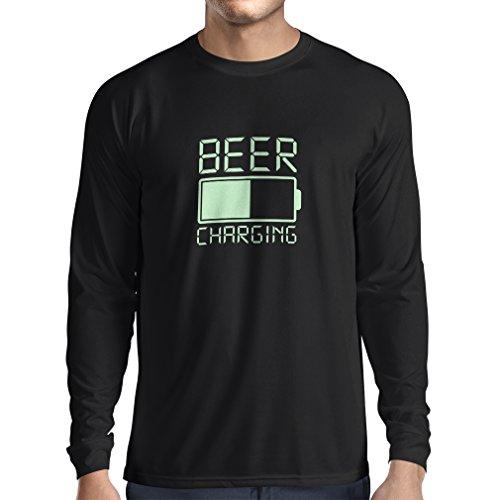 lepni.me Camiseta de Manga Larga para Hombre Carga de Cerveza, Citas Divertidas, Humor de Bar para Amantes de la Cerveza (Medium Negro Fluorescente)
