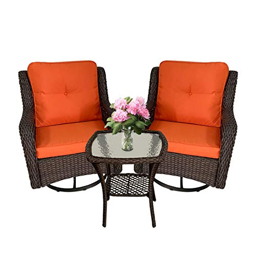 Polaris Garden 3-Piece Patio Furniture Wicker Rocking Swivel Chairs,Outdoor Bistro Set, 360-Degree 2 Cushioned Swivel Wicker Chairs with Coffee Table (Rust)