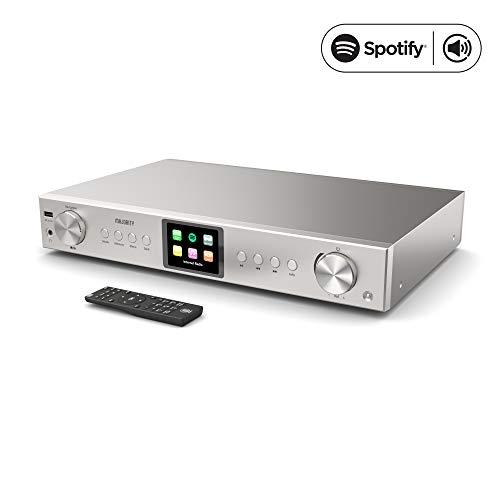 Majority Fitzwilliam 2 HiFi-Tuner - Digitales DAB/DAB + / FM- und Internetradio - Spotify Connect - Bluetooth - Fernbedienung - USB & AUX - Optisches, koaxiales und Line-Out- Farbdisplay (Silber)